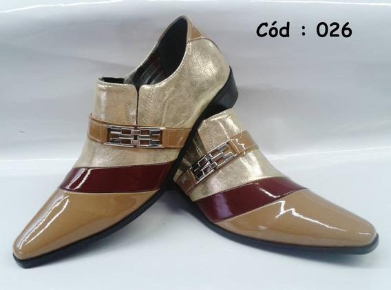 Sapato Masculino Em Couro Dourado C/ Bege Cod:26