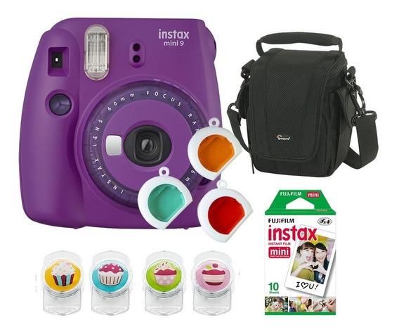 Câmera Fujifilm Instax Mini9 Roxo Açaí C/ 3 Filtros + Bolsa