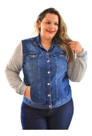 Jaqueta Jeans Plus Size Sarja Azul Lycra 46 Ao 52 Promoção