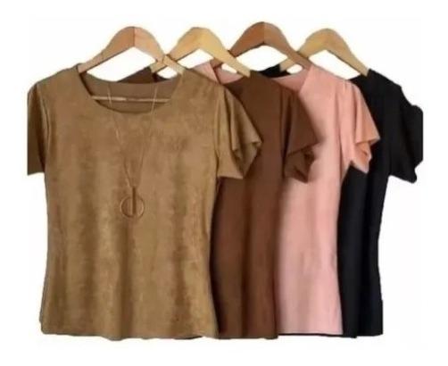 Blusinha T-shirts Sued Lançamento Moda Outono-inverno