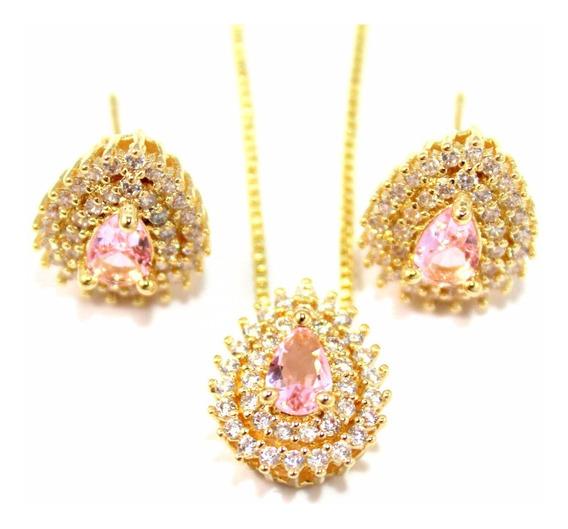 Conjunto Brinco E Colar Gota Cristal Rosa Banhado A Ouro