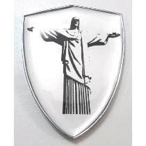 Adesivo Escudo Cromado Resinado Bandeira Cristo Redentor