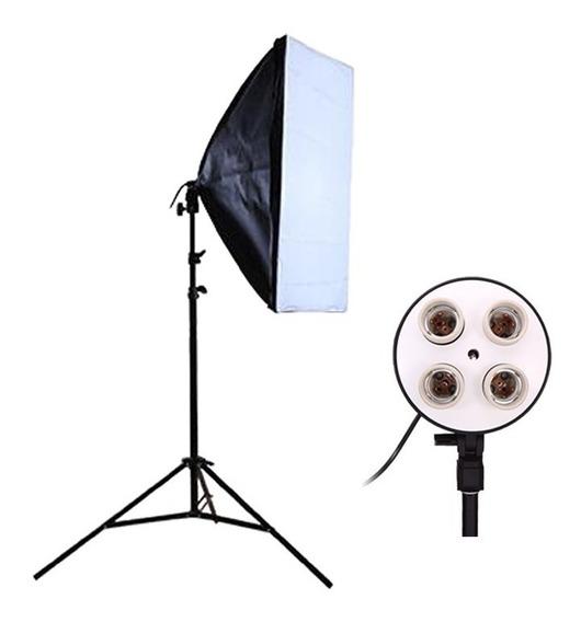 Kit Soft Box Soquete E27 Quadruplo 50 X 70 + Tripé 2m