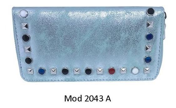 Billetera Metalizada Con Tachas Y Círculos De Colores Ec-2043