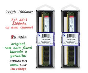 8gb Kit C/ 2 Memoria 4gb Ddr3 1600 Mhz Kingston P/ Gigabyte