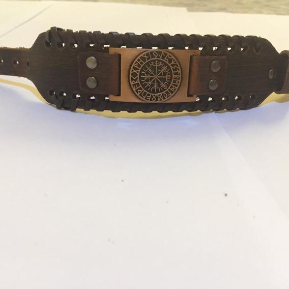 Bracelete Viking Couro Runas