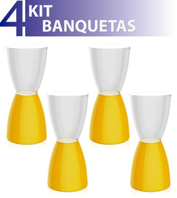 Kit 4 Banquetas Bery Assento Cristal Base Color Amarelo