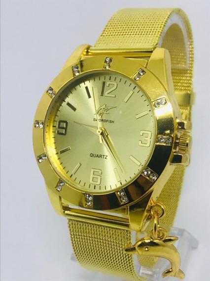Relógio Pulso Feminino Luxo Da Moda Potenzia+ Caixa Presente