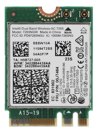Para Placa De Rede Intel Dual Band Wireless-ac 7265 Dual Ban