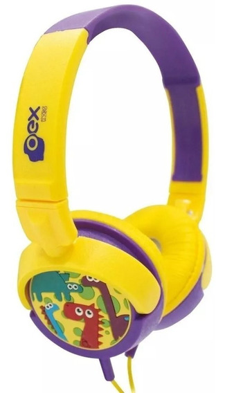 Headphone Dino Oex Infantil Amarelo/roxo - Hp300