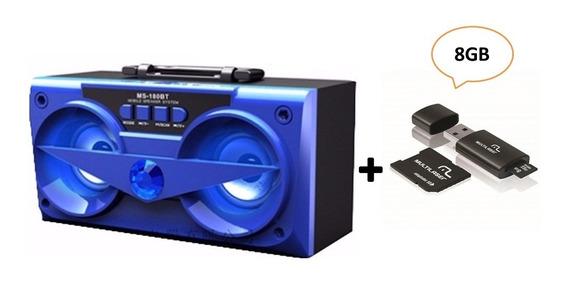 Combo Caixa De Som Bluetooth Azul 10w Ms-180bt + Kit 3/1 8gb