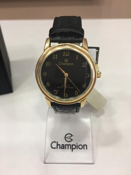 Relógio De Pulso Champion Ch22153 Dourado E Preto Couro