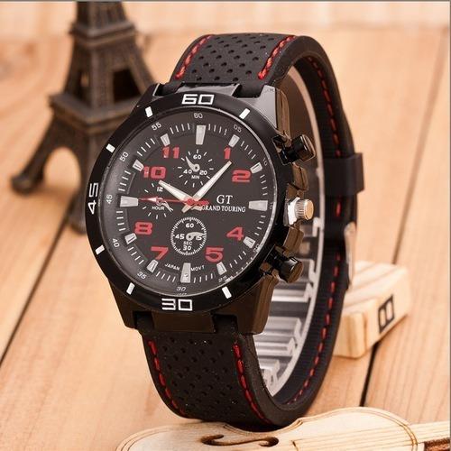 Relógio Fashion Watch Men Com Detalhes Em Vermelho