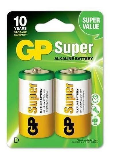 2 Pilhas Gp Alcalina D Super Atacado E Revenda Cartela Com 2