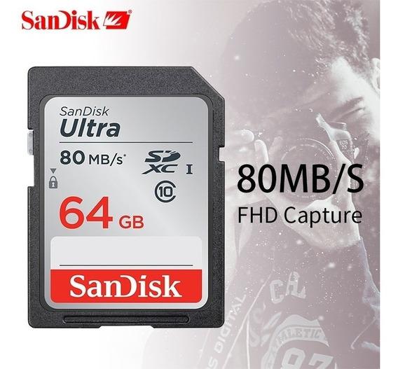 Cartão Sd 64gb Sandisk Ultra Classe 10 80mb/s Lacrado Poa