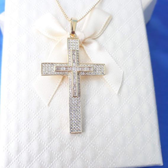 Colar Crucifixo Cruz Banhada A Ouro Com Pedras De Zirconia