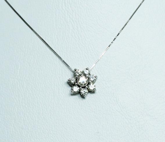 Pocao2005- Colar De Ouro Branco 18k750 Flor Diamantes C258