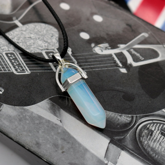 Colar Cordao Pedra Natural Pedra Onix Preto Hippie Masculino