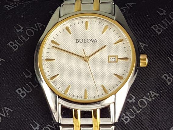 Relógio Bulova 98b134 Original, Com Data, Prata E Dourado.