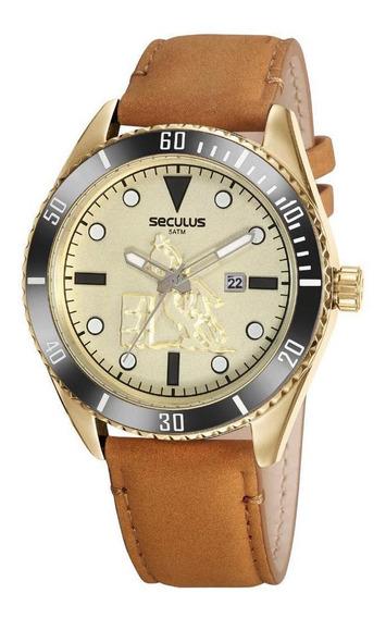 Relógio Masculino Country Dourado Pulseira Couro Seculus