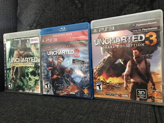 Pacote 3 Jogos Uncharted 1, 2 E 3 Para Ps3 Play 3