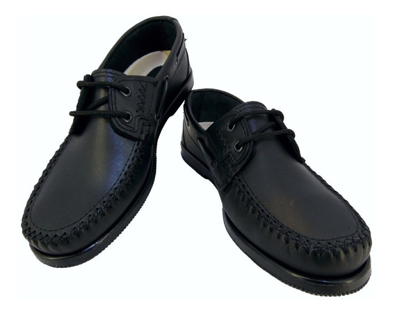 Zapato Mocasín Náutico Cuero Escolar Negro Foot Notes Cd 700