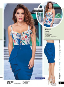 Falda Azul Rey C/holanes Dama Cklass 979-12 Pvbs-2019