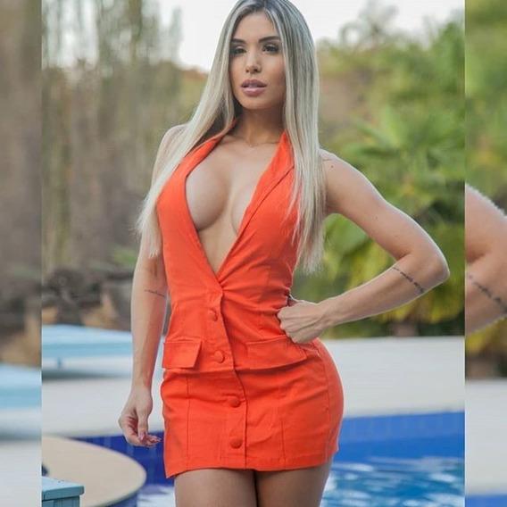 Macaquinho Curto Feminino Com Bojo Tipo Vestido Com Botões Regata Tam. M Regata Moda Verão Modinha Instagram Decotado