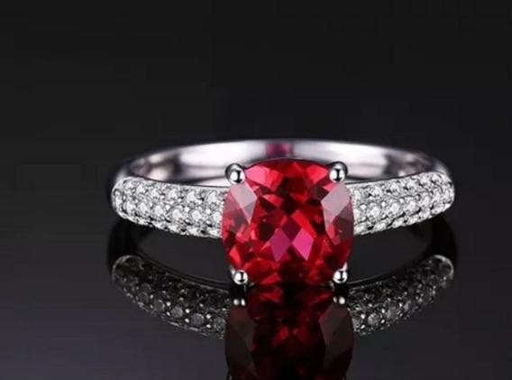 Anel Feminino Solitário Noivado Casamento Rubi Prata
