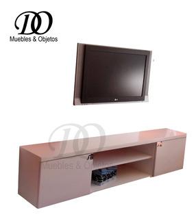 Mueble Tv Lcd Flotante Laqueado De 180x35 Con Puerta Moderno