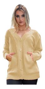 Blusa De Frio Casaco Suéter Botão Malha Tricot Plus 46/48