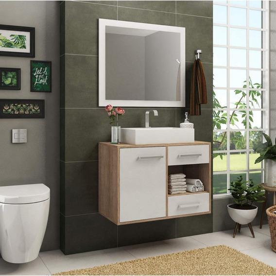 Gabinete Suspenso Para Banheiro Com Espelho 1 Porta 2 Ij