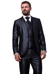 Terno Slim Masculino Italiano + Camisa +prendedor + Gravata