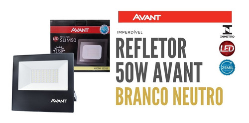 Refletor Slim Led 50w Avant Branco Neutro 4000k Ip65