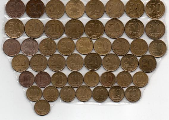 Lote 49 Moedas Brasil 10, 20 E 50 Centavos Série Completa