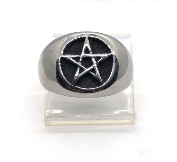 Anel Pentagrama Estrela Cinco Pontas Salomão Aço Maciço P1