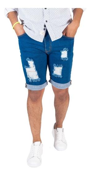 Bermuda Fit Skinny Mezclilla Para Hombre