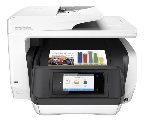 Impressora a cor multifuncional HP OfficeJet Pro 8720 com Wi-Fi 110V/220V branca e preta