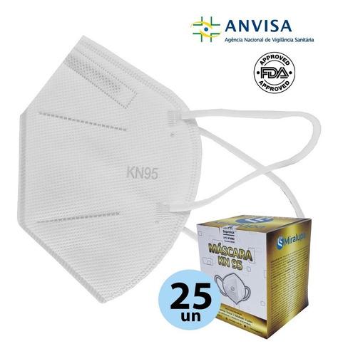 Imagem 1 de 5 de Mascara Kn95 N95 5 Camadas Proteção Branca Kit 25 Unidades
