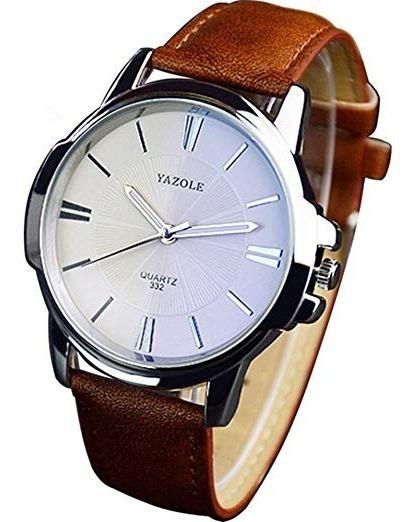 Relógio Masculino Yazole 332 Pulseira Marrom Fundo Branco