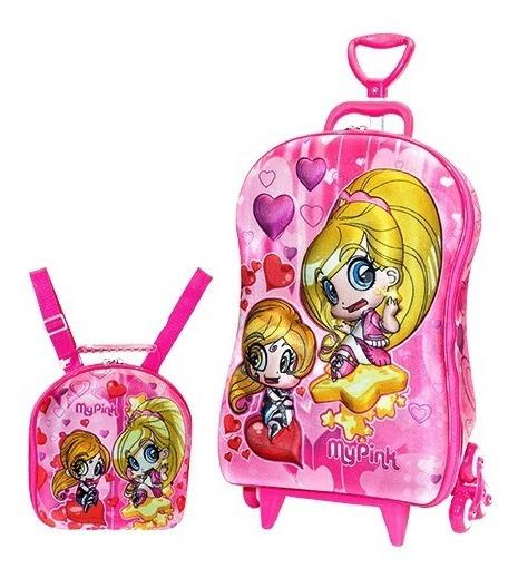 Mochila Escolar Mochilete 3d My Pink + Lancheira