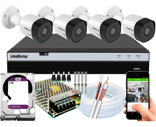 Kit Cftv 4 Câmeras 30m 1080p Intelbras Dvr 3108 1tb Purple
