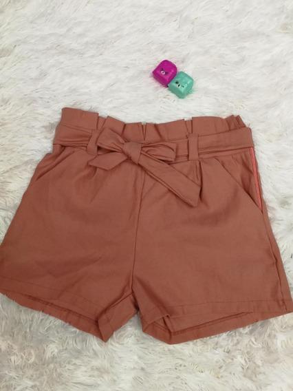 Kit10 Short Cintura Feminino Alta Bengaline Shortinho Laço