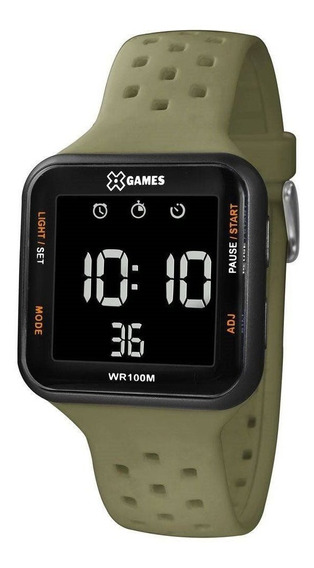 Relógio Masculino Preto X-games Digital Quadrado Pulseira Verde Militar