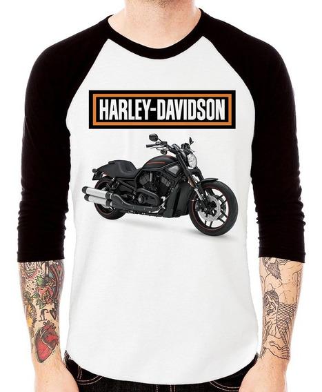 Camiseta Raglan Moto Harley Davidson V-rod Night Rod Special