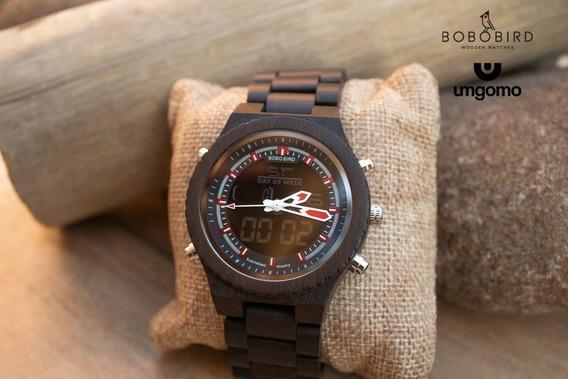 Relógio De Madeira Dipteryx Vermelho