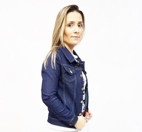 Jaqueta Jeans Feminina Com Lycra Até O G3