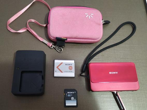 Câmera Sony Dsc T110 Rosa Tela Touch