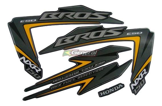 Kit Adesivo Jogo Faixas Moto Honda Bros 150 2012 Esd Preta