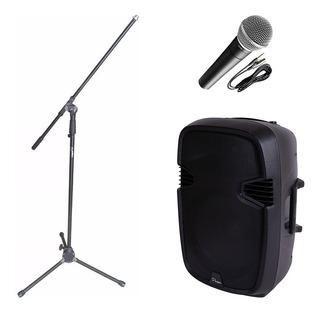Combo Audio Karaoke Parquer Bafle Microfono Soporte